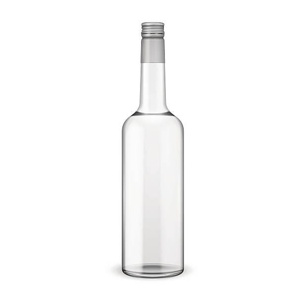 Glass vodka bottle with screw cap. Glass vodka bottle with screw cap. Vector illustration. Glass bottle collection, item 11. vodka stock illustrations