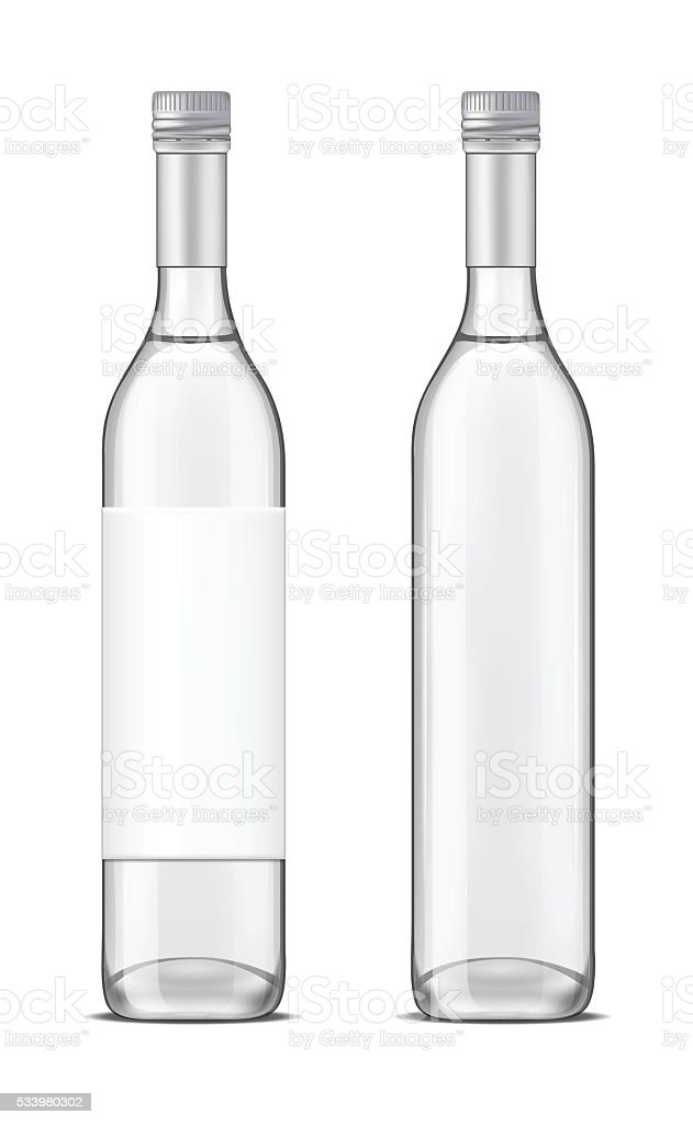 Glass vodka bottle with screw cap vector art illustration