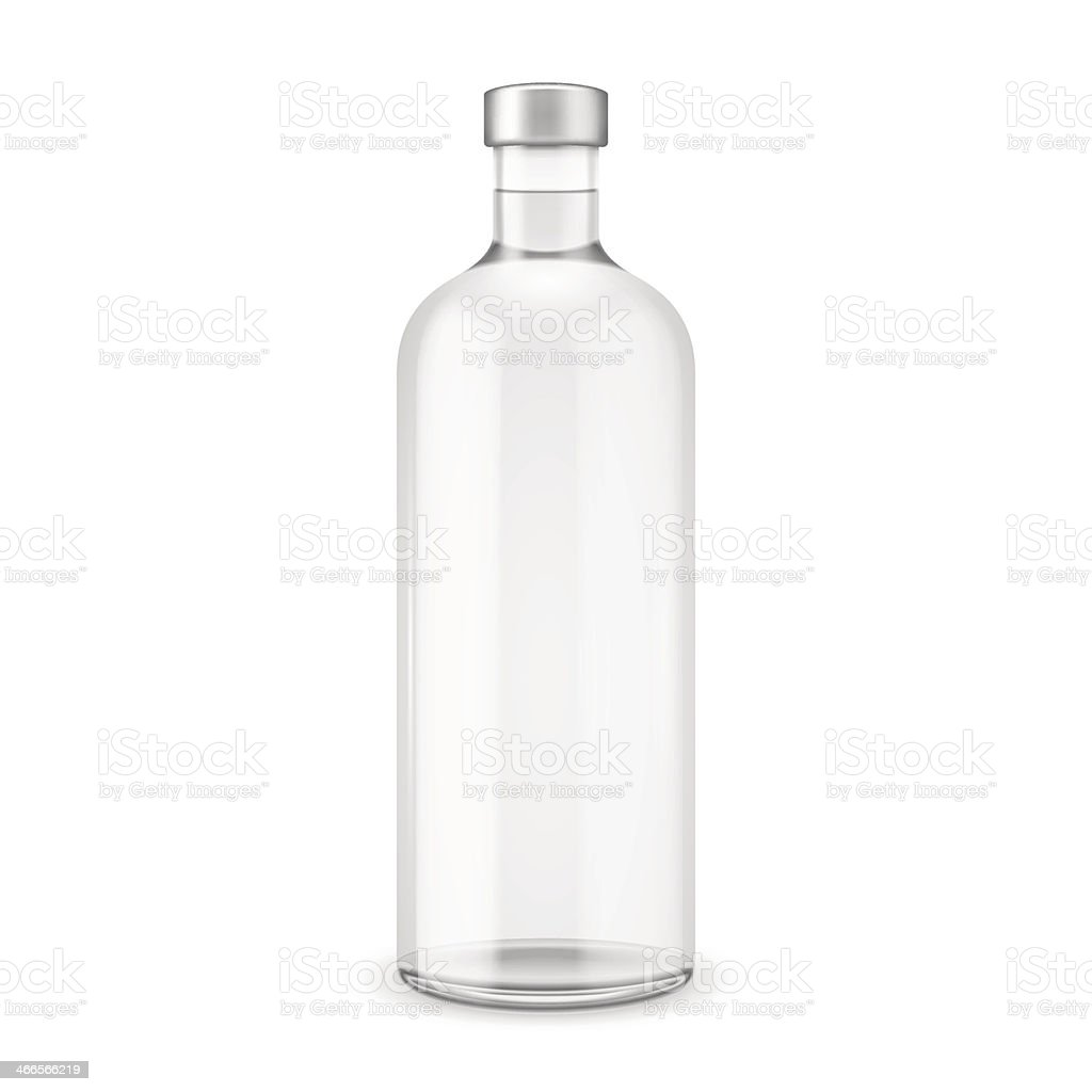 Glass vodka bottle with silver cap. vector art illustration