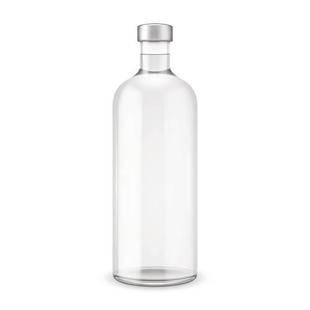 Glass vodka bottle with silver cap. Glass vodka bottle with silver cap. Vector illustration. Glass bottle collection, item 10. vodka stock illustrations