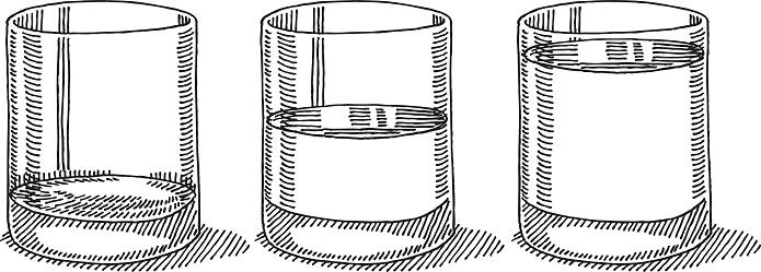 Glass Water Full Half Empty Drawing