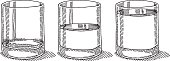 Hand-drawn vector sketch of three Glasses. The first one is empty, the second one is filled half with water, the last one is full of water. Black-and-White sketch on a transparent background (.eps-file). Included files: EPS (v8) and Hi-Res JPG.