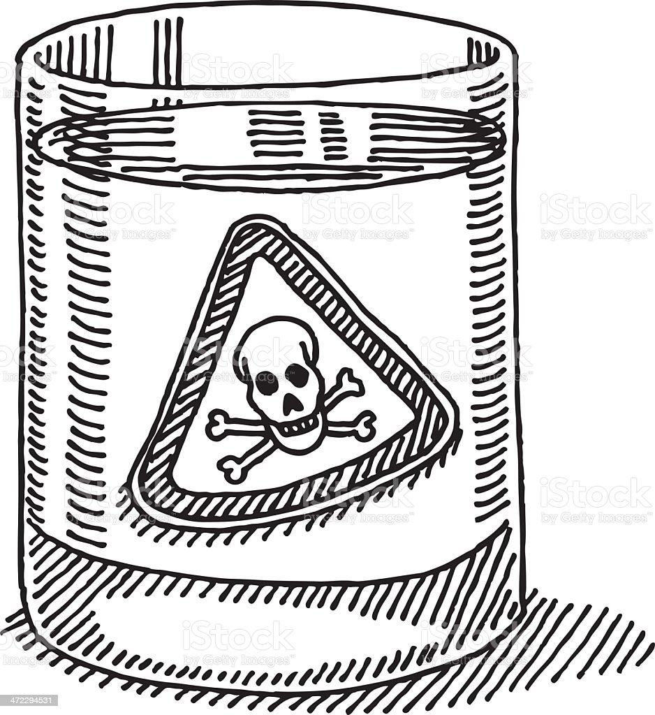 Glass Water Toxic Danger Sign Drawing vector art illustration