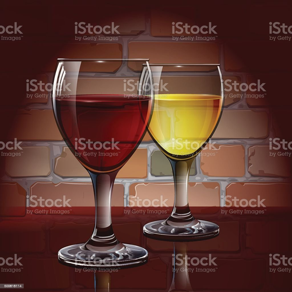 Glass wine glass with red wine, white wine, cider. vector art illustration