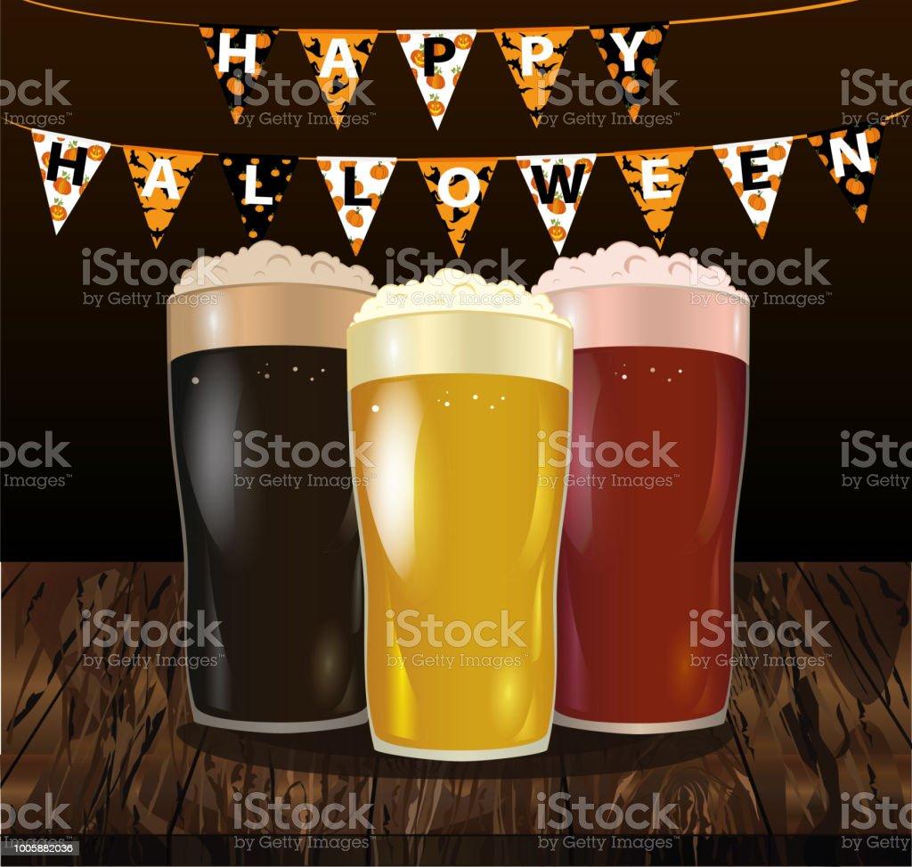 Halloween Bier.Een Glas Met Een Lichte Rode En Donker Bier Uitnodiging Aan