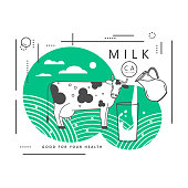 A glass with a milk splash, a pitcher and a cow. Vector illustration.