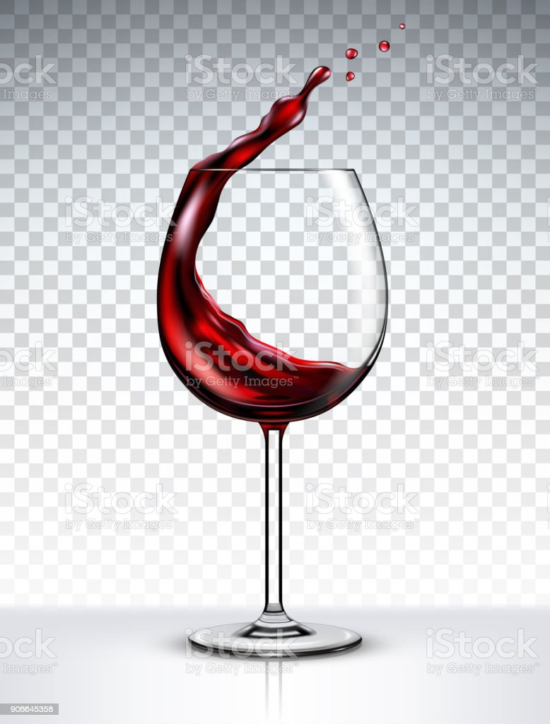 Glass with a splash of red wine isolated on transparent background vector art illustration