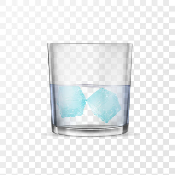 Glass with alcohol or water and two ice cubes. vector art illustration
