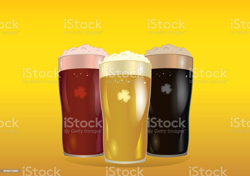 A glass with bright, red and dark beer. Invitation to the St. Patrick's Day. Greeting card with owlet. Free space for your ad or text. Vector illustration on yellow background. vector art illustration