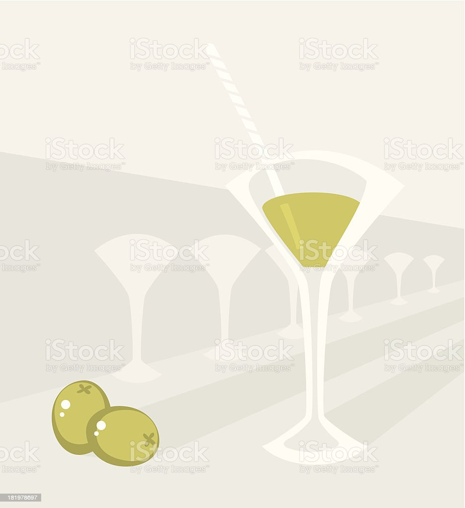 Glass with cocktail and two olives royalty-free stock vector art