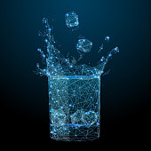 Glass with drink and splash low poly