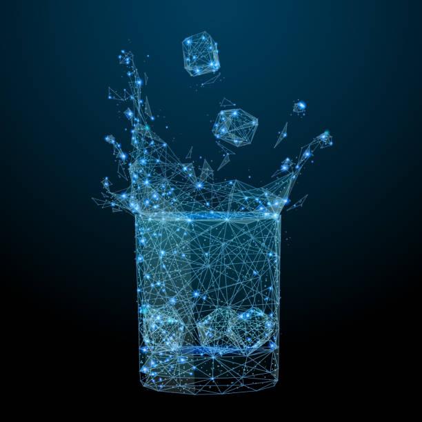 glas mit getränk und splash low-poly - hochschulgetränke stock-grafiken, -clipart, -cartoons und -symbole