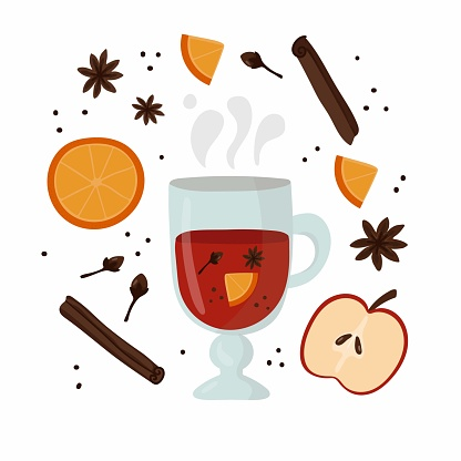 Glass with mulled wine. Hot drink with spices and fruits, autumn and winter drinks, traditional food postcard or poster recipe flat vector cartoon doodle collection