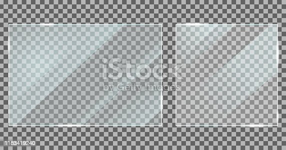 istock Glass with reflection effect in mockup style. Acrylic and glass texture with glare. Digital screen window frame with glossy lights effect. Gloss plastic screen, realistic mirror on transparent. 1183419240
