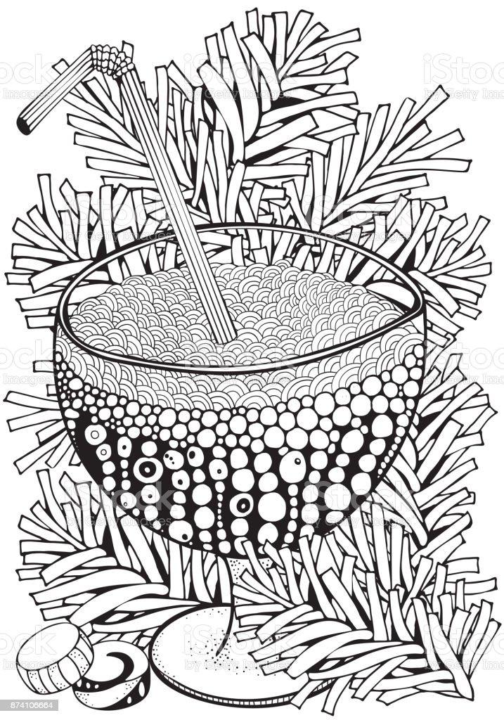 Ilustración de Vaso Con Soda O Limonada Adultos Página De Libro Para ...