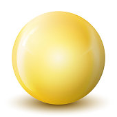 istock Glass yellow ball or precious pearl. Glossy realistic ball, 3D abstract vector illustration highlighted on a white background. Big metal bubble with shadow. 1262234225
