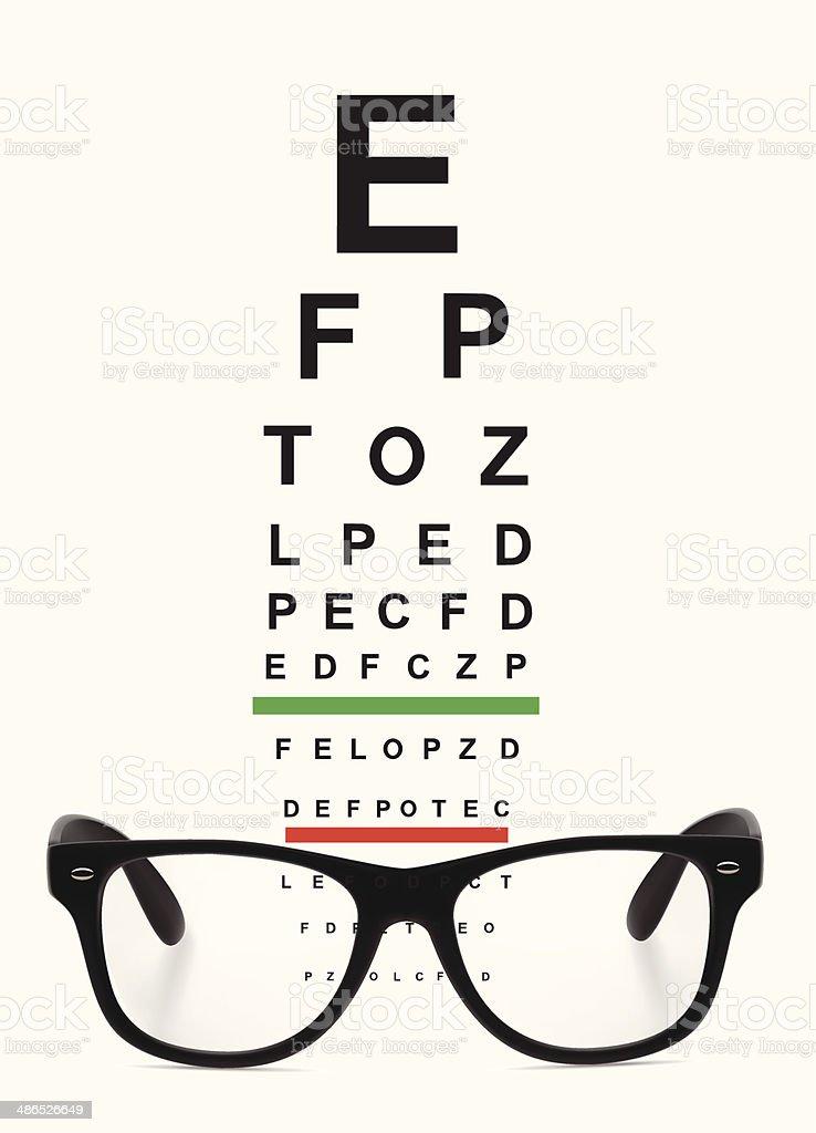 Glasses and Eye Chart vector art illustration