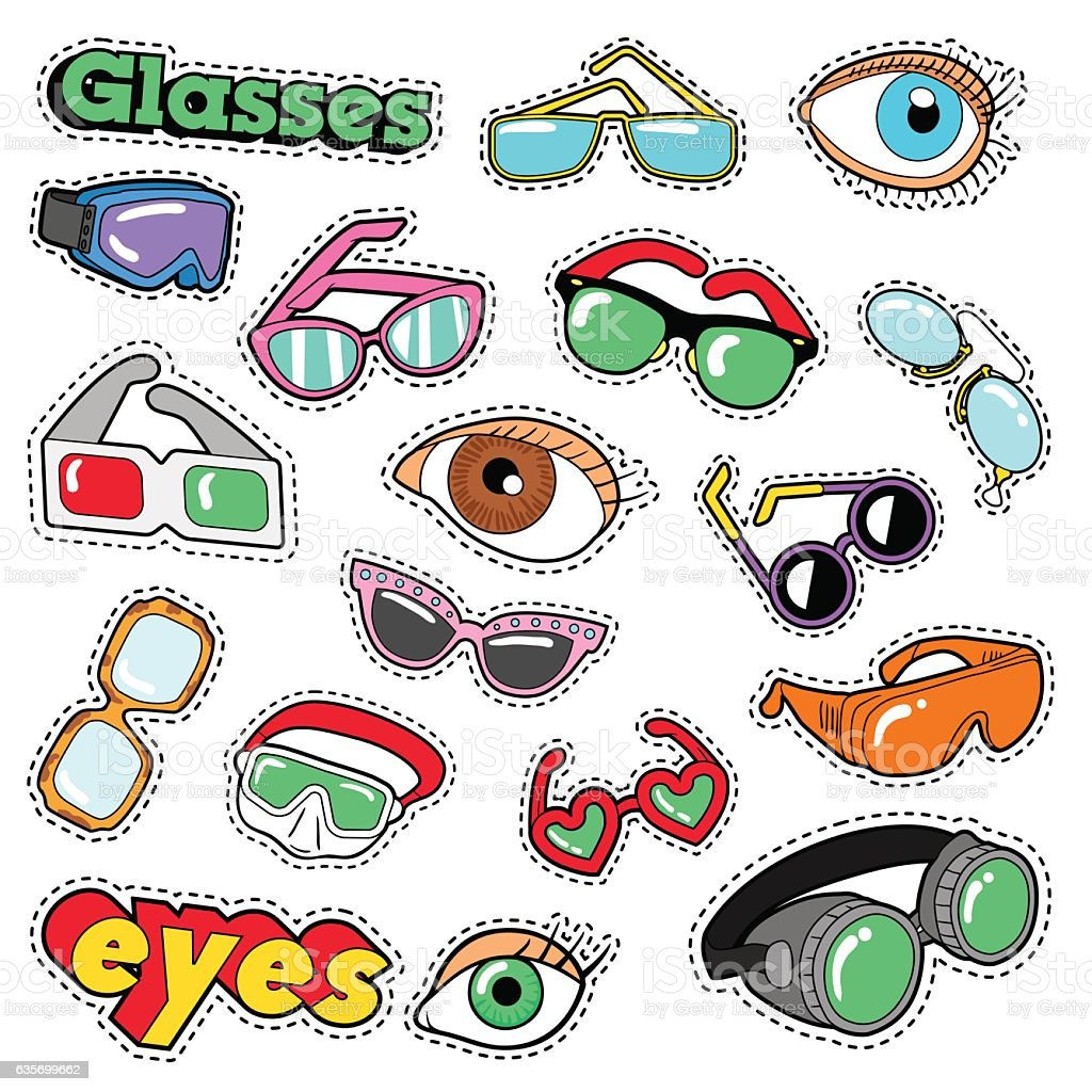 Glasses and Eyes Decorative Elements for Scrapbook, Stickers, Patches, Badges royalty-free glasses and eyes decorative elements for scrapbook stickers patches badges stock vector art & more images of arts culture and entertainment