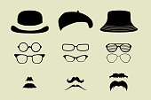 glasses and hats mustache