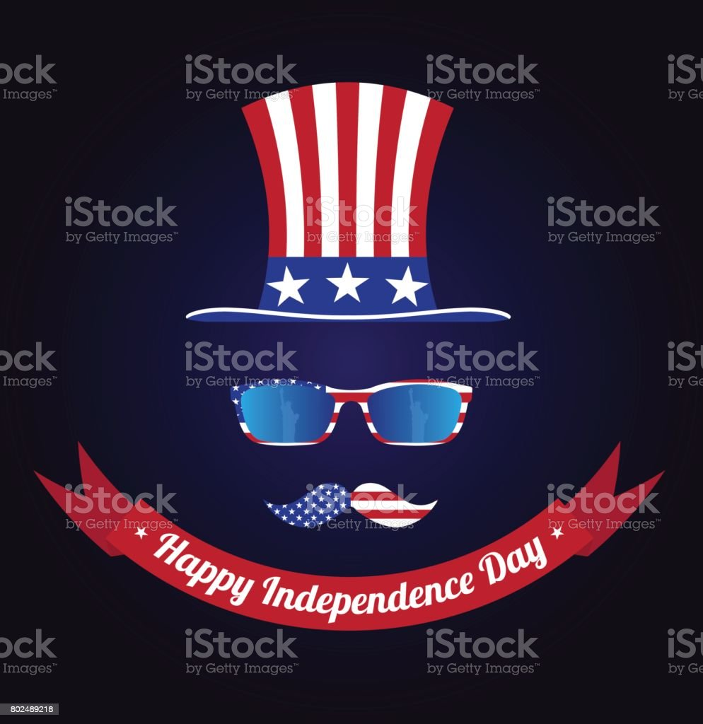 Glasses And Mustache Design Of The American Flag Hat Of Uncle Sam