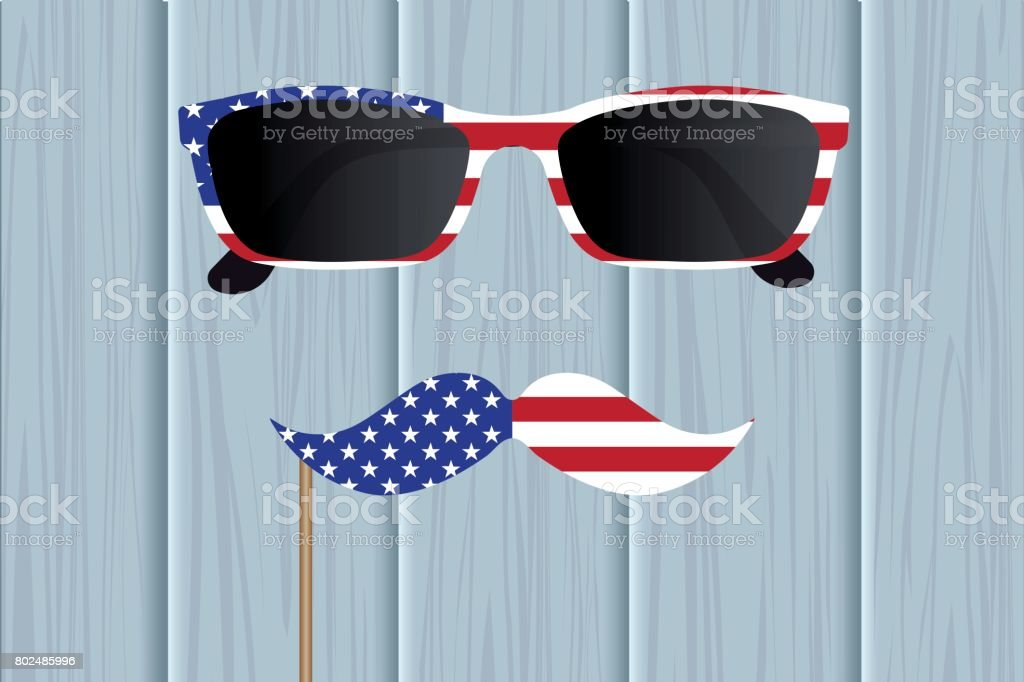 ce7bd48679c Glasses and mustache design of the American flag. National holiday in  America Independence Day.