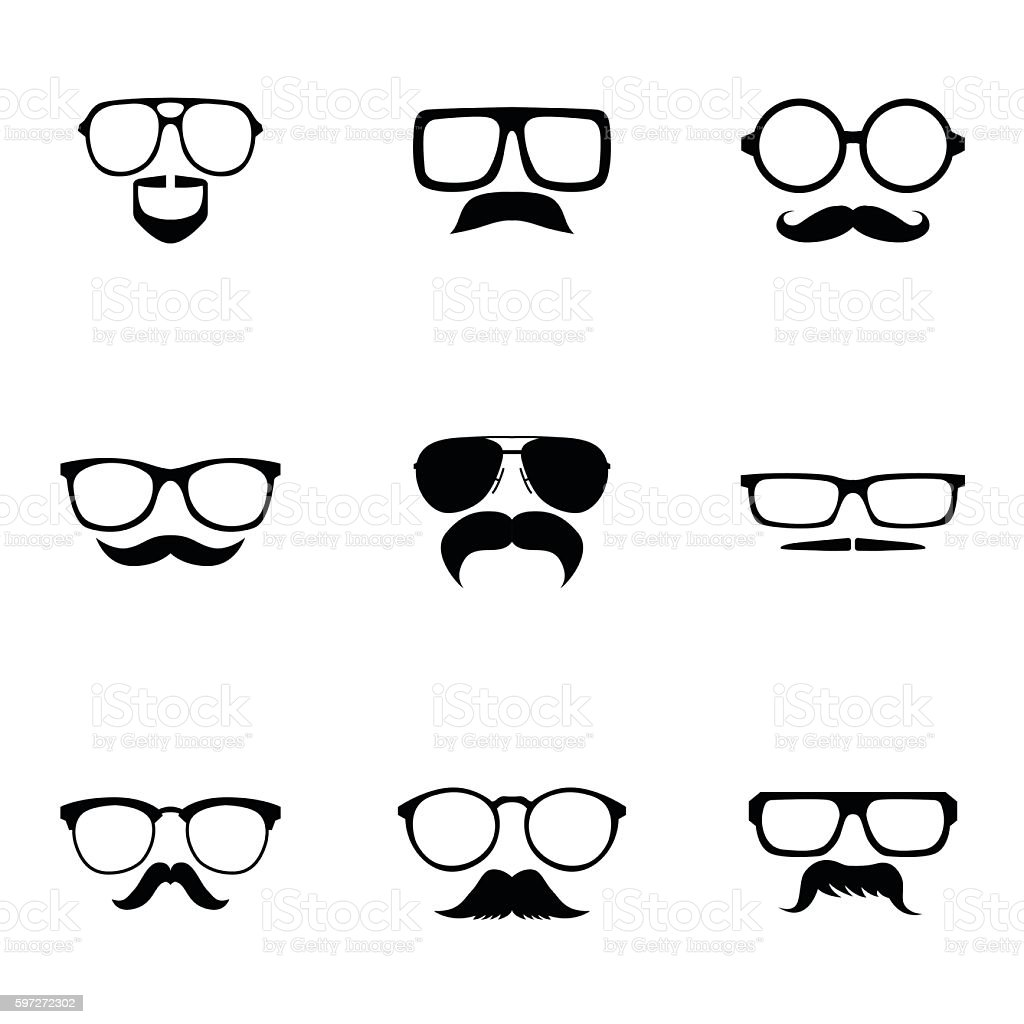 Glasses and mustache vector set Lizenzfreies glasses and mustache vector set stock vektor art und mehr bilder von brille