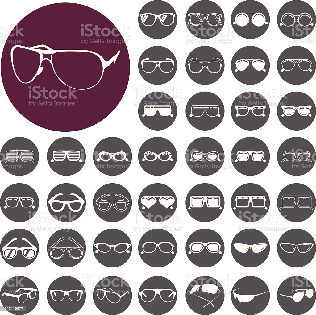 Brillen und Sonnenbrillen icon-set.  Vektor-Illustration eps10 – Vektorgrafik