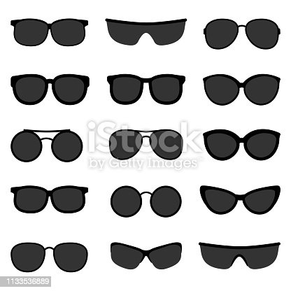 Vector set of black sunglasses on white background