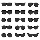 Vector set of black sunglasses on white background
