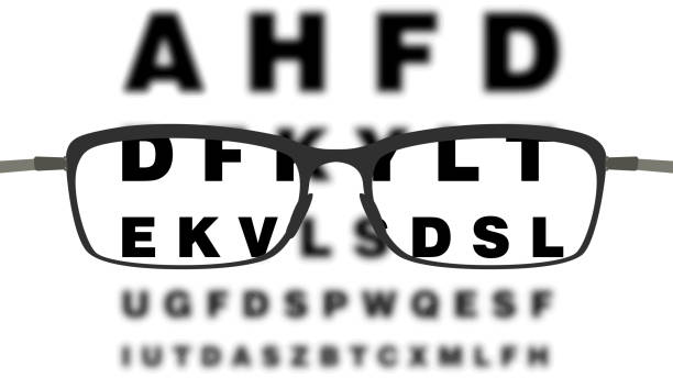 glasses and vision check - okulary stock illustrations