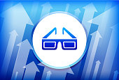 3D Glasses Blue Up Arrows Background. The main icon depicted in this illustration is in the center of the composition. It is rendered in a bright blue color and has a slight glow and gradient. The vector icons is set against a white button with a blue trim. The background of the image has multiple arrows moving up. This is a conceptual representation of the progress and positive change. The background is blue in color.