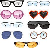 Glasses eyewear eyeglasses, vector illustration.