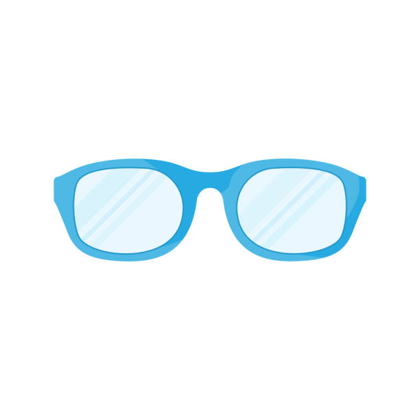 Glasses flat icon. Vector illustration Glasses icon in flat design. Vector illustration. Blue glasses icon, isolated on white background blue silhouettes stock illustrations