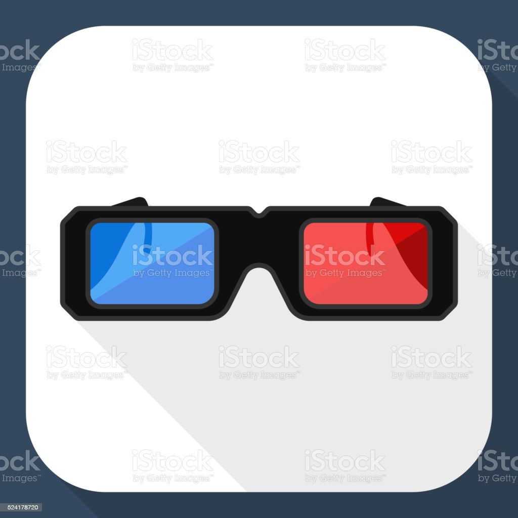 3D glasses flat icon with long shadow vector art illustration