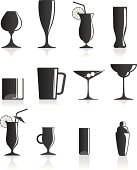 the silhouettes of glasses for cocktails