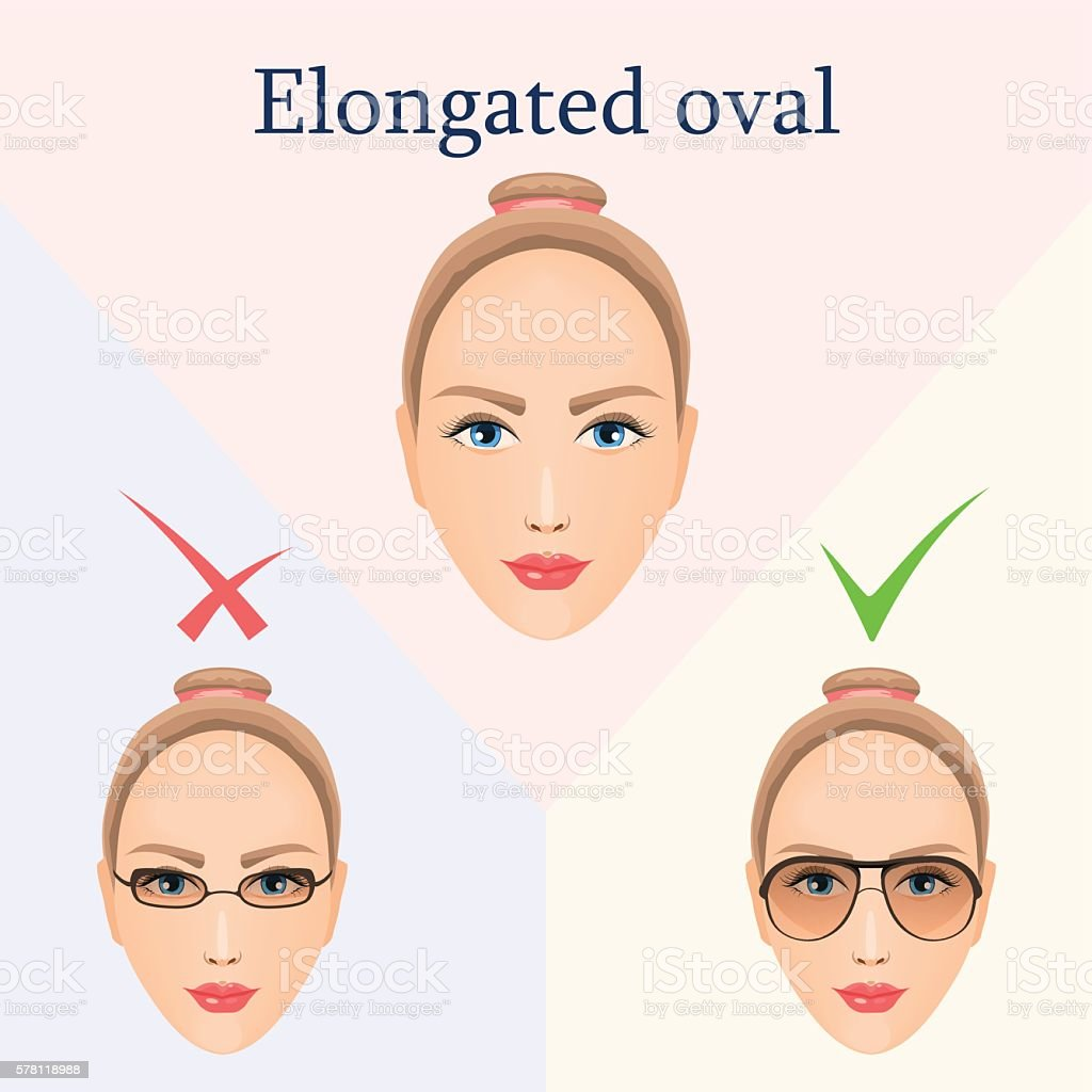 Glasses For Elongated Oval Face Stock Vector Art More Images Of