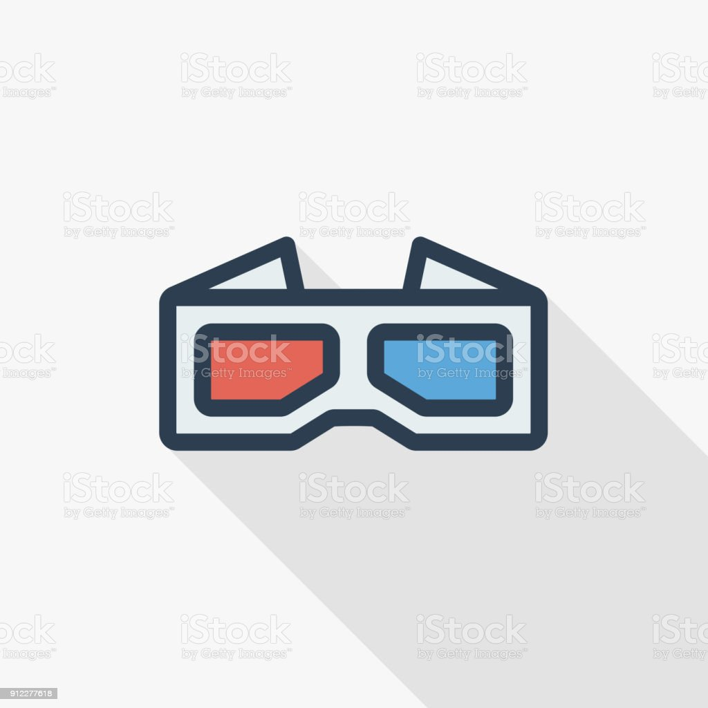 Glasses for movie thin line flat color icon linear vector symbol glasses for movie thin line flat color icon linear vector symbol colorful long shadow biocorpaavc