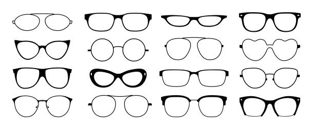 glasses frames silhouette. hipster geek sun glasses, optometrist black plastic rims, old fashion style. vector isolated glasses frames - okulary stock illustrations