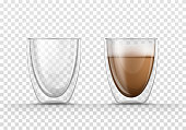 Vector realistic illustration of glasses empty and full of coffee., isolated on transparent background. Glass mug with double walls with hot drink, cappuccino or latte. Mockup for brand advertising.