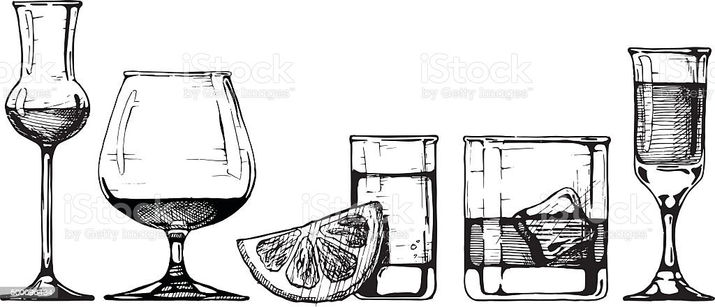 glasses goblets set vector art illustration