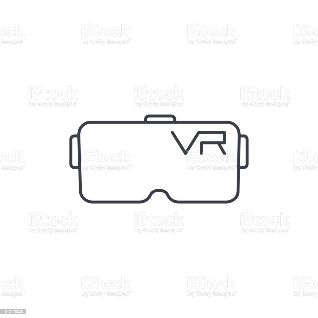 VR glasses, goggles, virtual reality 360 thin line icon. Linear vector symbol vector art illustration