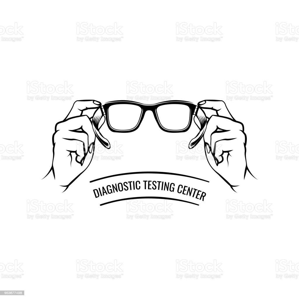 Glasses Hand Oculist Label Logo Eyeglasses Icon Diagnostic Testing