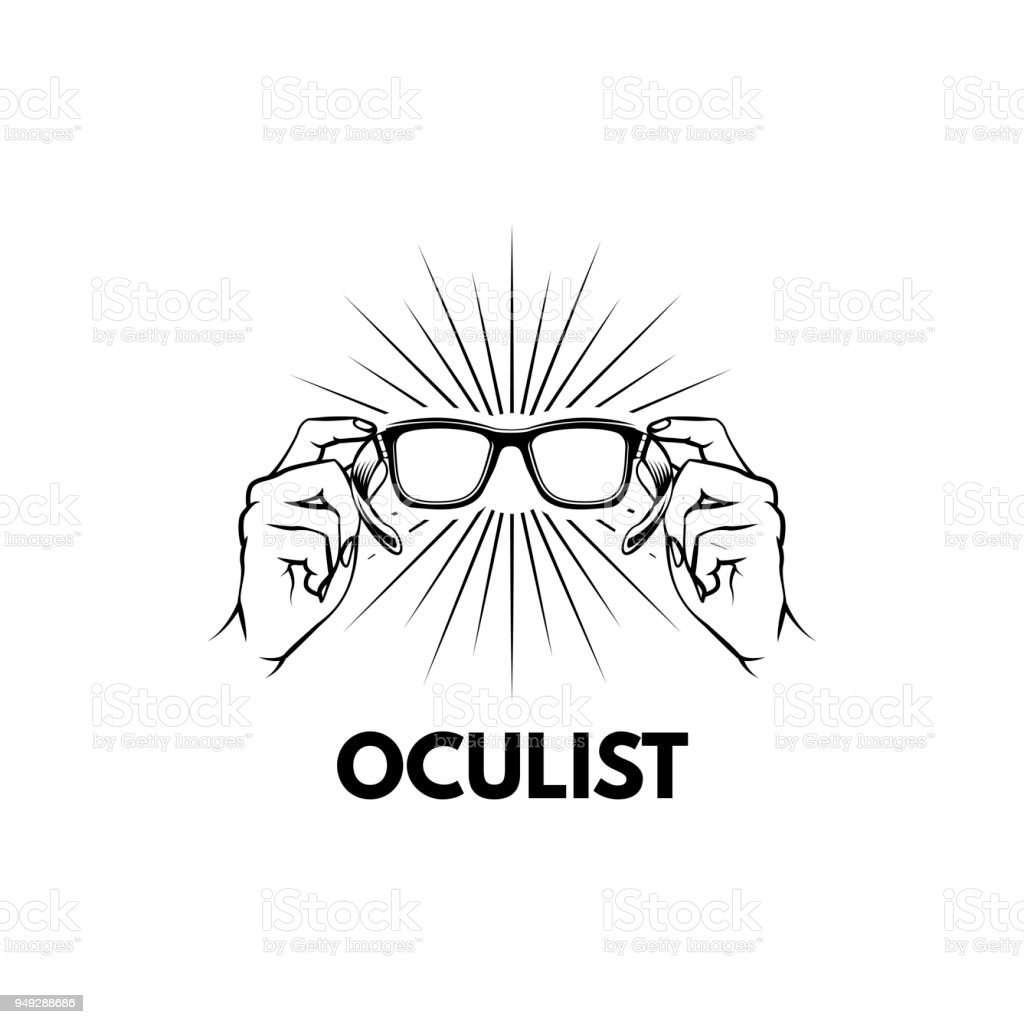 Glasses Hands Oculist Label Logo Emblem Design Beams Hands Holding