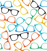 Glasses Hipster Style Background Pattern. Vector