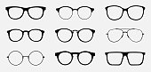 Glasses icon concept. Glasses icon set. Vector graphics isolated on white background.