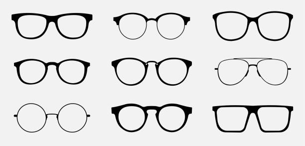 brille nissen-icon-konzept. brille-symbol-set. vektorgrafiken, die auf weißem hintergrund isoliert sind. - glas stock-grafiken, -clipart, -cartoons und -symbole