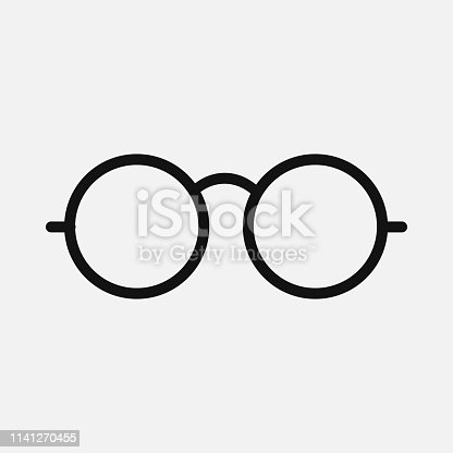 istock Glasses icon isolated on white background. Vector illustration. 1141270455