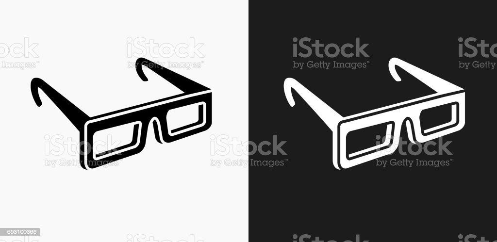 3D-Brille-Symbol auf schwarz-weiß-Vektor-Hintergründe – Vektorgrafik