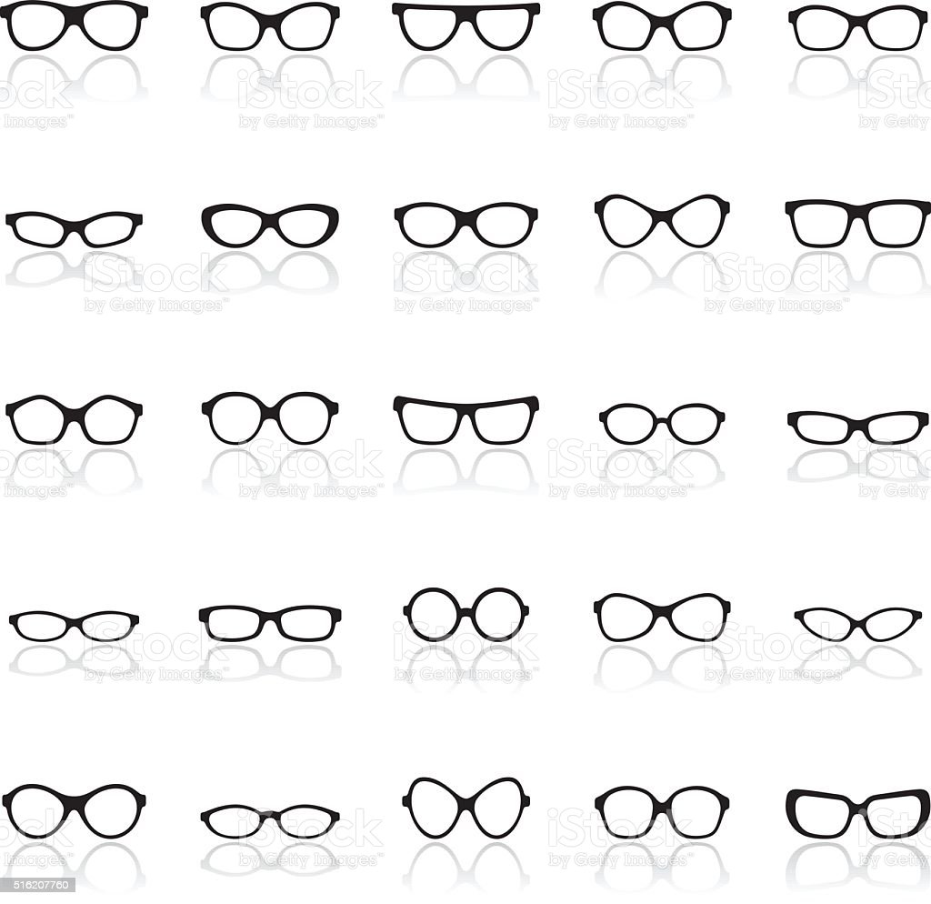 Glasses icon set vector art illustration