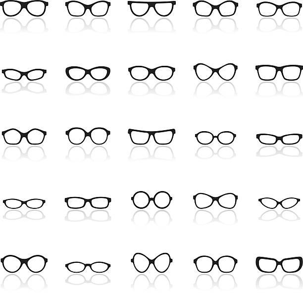 글라스잔 아이콘 세트 - 안경 stock illustrations